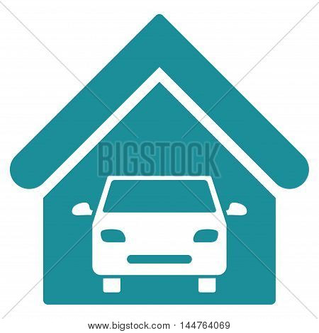 Car Garage icon. Vector style is flat iconic symbol, soft blue color, white background.