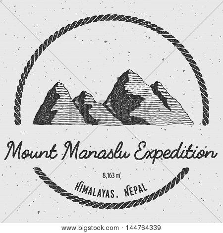 Manaslu In Himalayas, Nepal Outdoor Adventure Logo. Round Trekking Vector Insignia. Climbing, Trekki