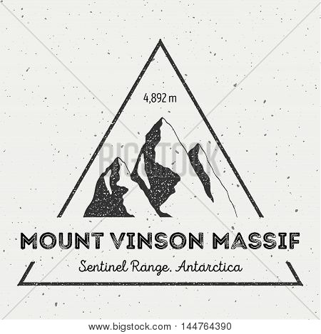 Vinson Massif In Sentinel Range, Antarctica Outdoor Adventure Logo. Triangular Mountain Vector Insig