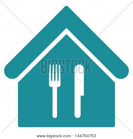 Restaurant icon. Vector style is flat iconic symbol, soft blue color, white background.