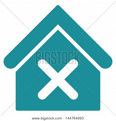 Wrong House icon. Vector style is flat iconic symbol, soft blue color, white background.