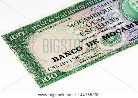 100 Mozambican ecudos bank note. Mozambican escudo is former currency of Mozambique