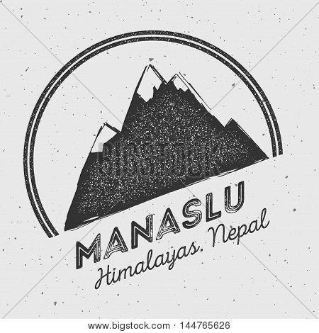 Manaslu In Himalayas, Nepal Outdoor Adventure Logo. Round Mountain Vector Insignia. Climbing, Trekki