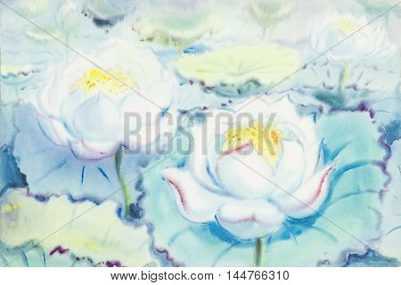 watercolororiginal painting white flowers of lotus and green leaves in blue background.