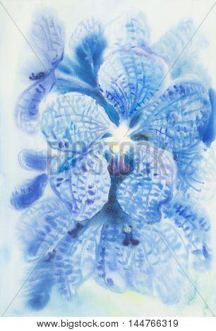 Abstract watercolor original painting blue color of vanda coerulea flower