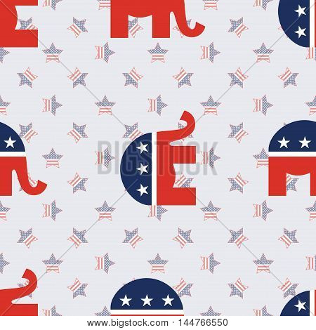 Republican Elephants Seamless Pattern On American Stars Background. Usa Presidential Elections Patri