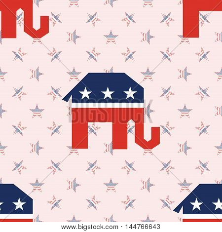 Broken Republican Elephants Seamless Pattern On National Stars Background. Usa Presidential Election