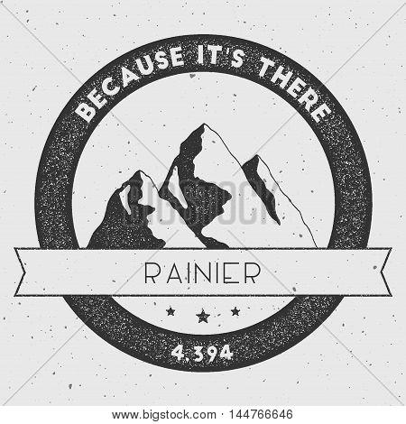 Rainier In Cascade Range, Usa Outdoor Adventure Logo. Round Climbing Vector Insignia. Climbing, Trek