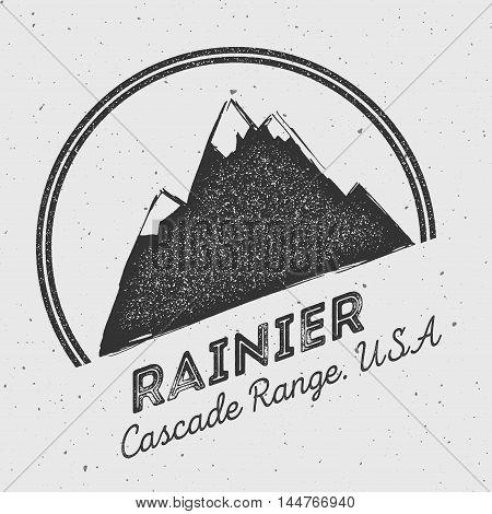 Rainier In Cascade Range, Usa Outdoor Adventure Logo. Round Mountain Vector Insignia. Climbing, Trek