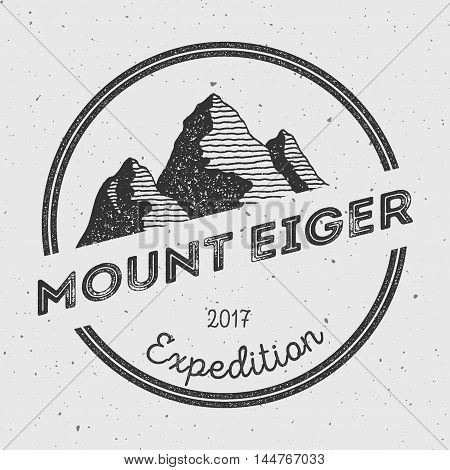 Eiger In Alps, Switzerland Outdoor Adventure Logo. Round Expedition Vector Insignia. Climbing, Trekk