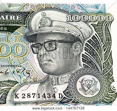 100000 Zaire bank note. Zaire is the national currency of Zaire