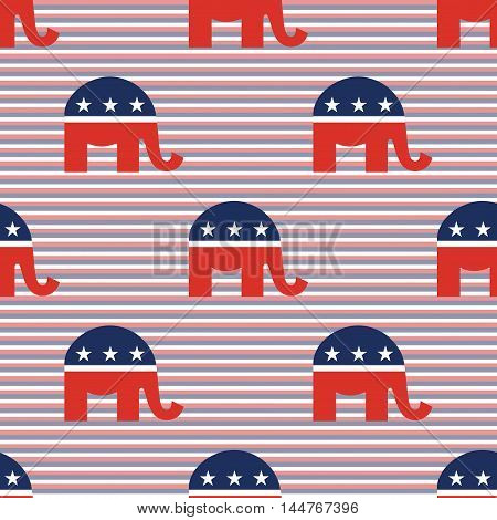 Republican Elephants Seamless Pattern On Red And Blue Diagonal Stripes Background. Usa Presidential
