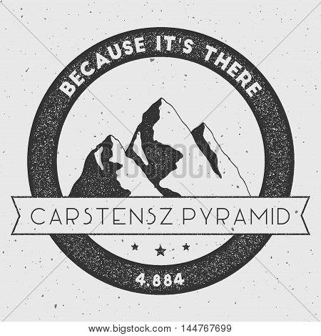 Carstensz Pyramid In Sudirman Range, Indonesia Outdoor Adventure Logo. Round Climbing Vector Insigni