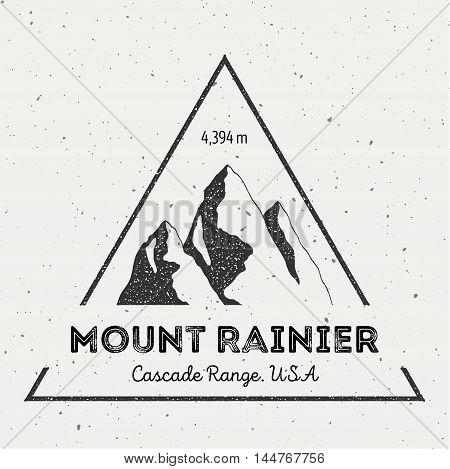 Rainier In Cascade Range, Usa Outdoor Adventure Logo. Triangular Mountain Vector Insignia. Climbing,