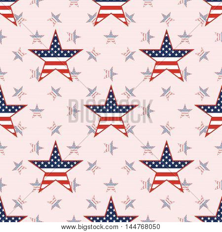 Us Patriotic Stars Seamless Pattern On National Stars Background. American Patriotic Wallpaper With