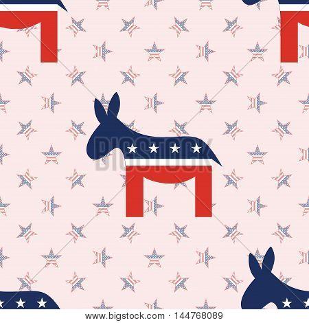 Democrat Donkeys Seamless Pattern On National Stars Background. Usa Presidential Elections Patriotic