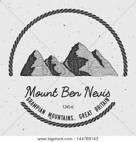 Ben Nevis In Grampian Mountains, Great Britain Outdoor Adventure Logo. Round Trekking Vector Insigni