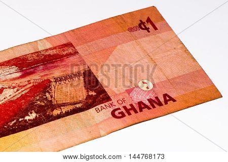 1 Ghana cedi bank note. Ghana cedi is the national currency of Ghana