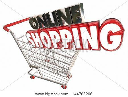 Online Shopping Cart Buy Products Internet Digital 3d Illustration