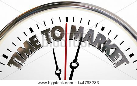 Time to Market Product Launch Speed Clock 3d Illustration