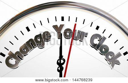 Change Your Clocks Turn Hands Back Forward Time 3d Illustration