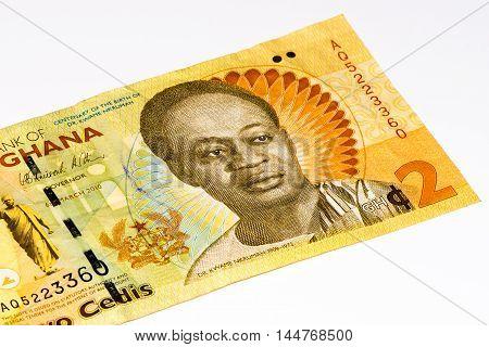 2 Ghana cedi bank note. Ghana cedi is the national currency of Ghana
