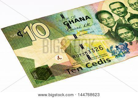 10 Ghana cedi bank note. Ghana cedi is the national currency of Ghana