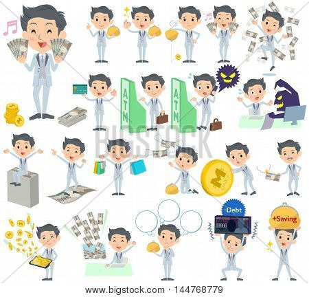 Set of various poses of tuxedo Silver short hair man money