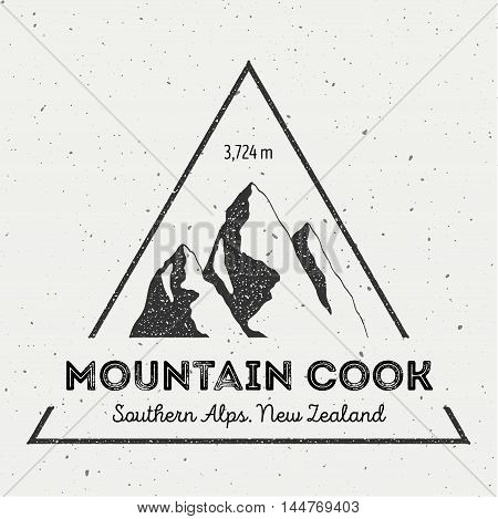Cook In Southern Alps, New Zealand Outdoor Adventure Logo. Triangular Mountain Vector Insignia. Clim