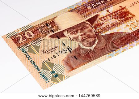 20 Namibian dollars bank note of Namibia. Namibian dollars is the national currency of Namibia
