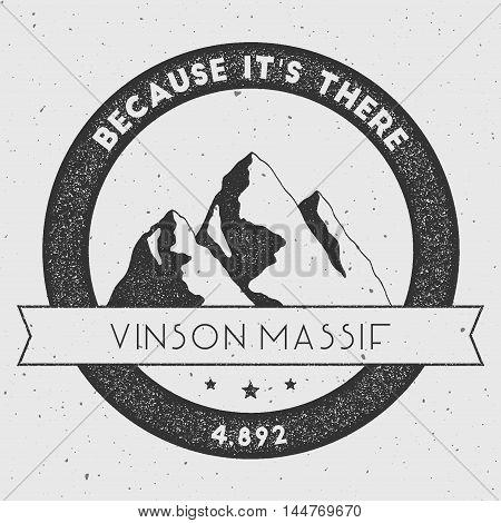 Vinson Massif In Sentinel Range, Antarctica Outdoor Adventure Logo. Round Climbing Vector Insignia.