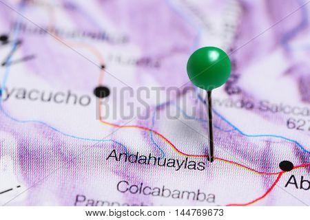 Andahuaylas pinned on a map of Peru