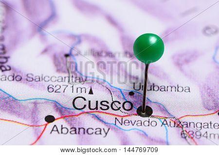 Cusco pinned on a map of Peru