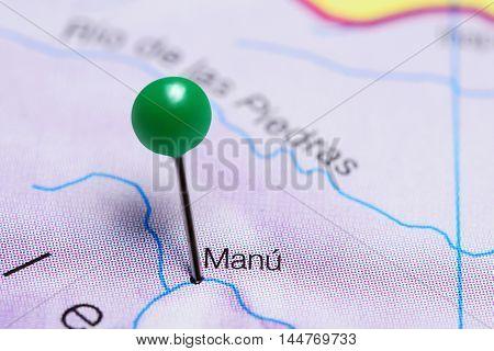 Manu pinned on a map of Peru