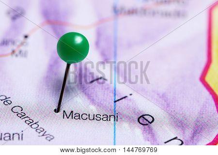Macusani pinned on a map of Peru