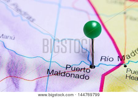 Puerto Maldonado pinned on a map of Peru
