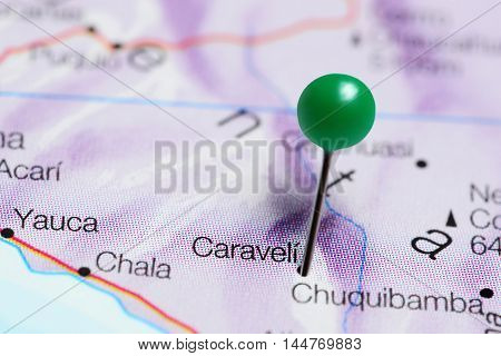 Caraveli pinned on a map of Peru