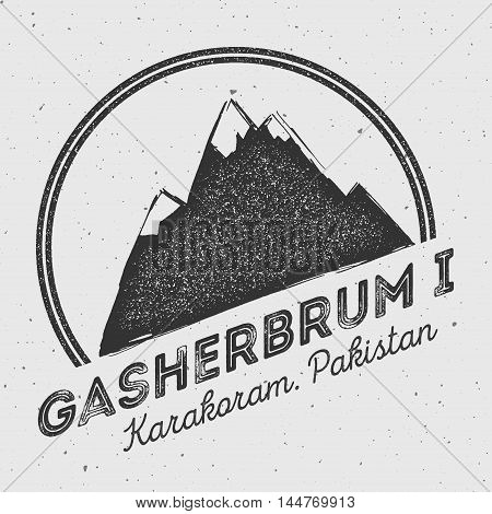 Gasherbrum I In Karakoram, Pakistan Outdoor Adventure Logo. Round Mountain Vector Insignia. Climbing