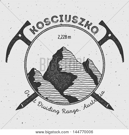 Kosciuszko In Great Dividing Range, Australia Outdoor Adventure Logo. Climbing Mountain Vector Insig
