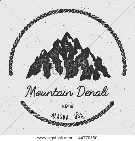 Denali In Alaska, Usa Outdoor Adventure Logo. Round Hiking Vector Insignia. Climbing, Trekking, Hiki