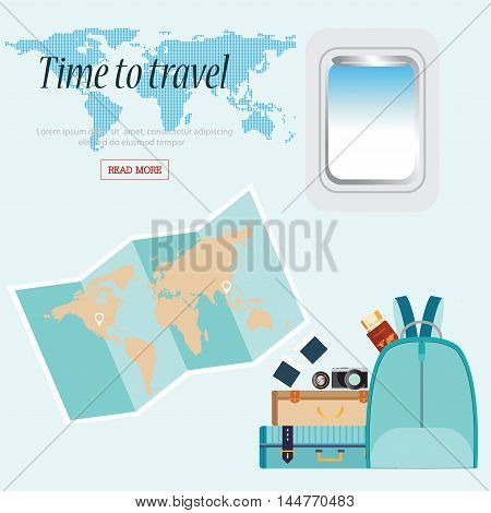 Time to Travel conceptual with airplane window and baggage world map Business Trip vector illustration design.