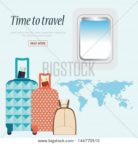 Time to Travel conceptual with airplane window and baggage world mapBusiness Trip vector illustration design.
