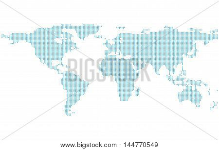 Dotted World Map Template with blue points isolated on white background Flat Earth Graph vector illustration.