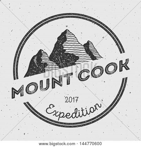 Cook In Southern Alps, New Zealand Outdoor Adventure Logo. Round Expedition Vector Insignia. Climbin