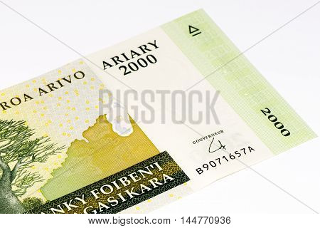 2000 Malagasy ariary bank note of Madagascar. Malagasy ariary is the national currency of Madagascar