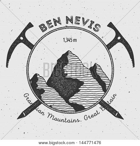 Ben Nevis In Grampian Mountains, Great Britain Outdoor Adventure Logo. Climbing Mountain Vector Insi