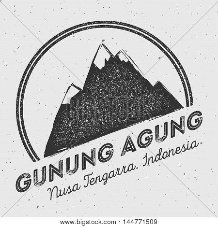 Gunung Agung In Nusa Tengarra, Indonesia Outdoor Adventure Logo. Round Mountain Vector Insignia. Cli