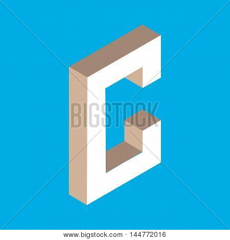 3d isometric letter c. typography for headlines, posters etc.
