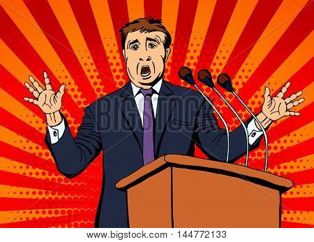 Businessman speaks into the microphone to the audience. Vector illustration