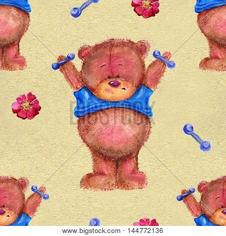 Seamless hand drawn cartoon pattern with cute funny bear holding dumb-bells on texture background. Watercolor repeated childish illustration.